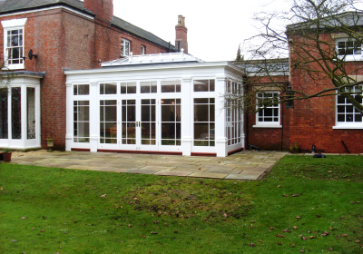 Timber orangery on a listed property